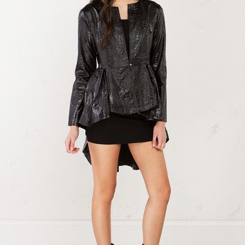 High Low PU Jacket in Black