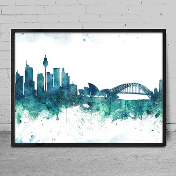 Sydney art, Watercolor Art print, Sydney skyline, Wall Art Print, Wall decor, Watercolor Painting, Watercolor Art Poster -x78