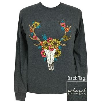 Girlie Girl Originals Preppy Autumn Deer Skull Long Sleeve T-Shirt