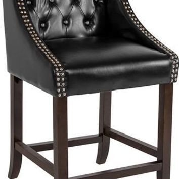 "Carmel Series 24"" High Transitional Tufted Walnut Counter Height Stool with Accent Nail Trim in Black Leather"