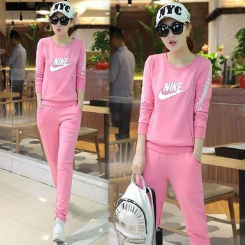 DCCKUH3 Nike Fashion Casual Top Sweater Pants Trousers Set Two-Piece