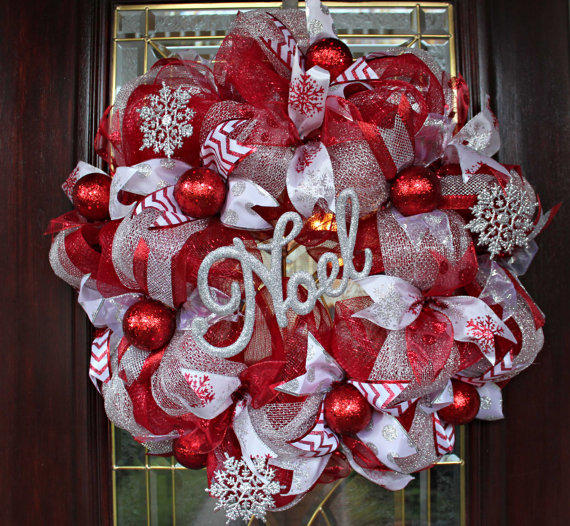 Deco Mesh Christmas Wreath Red And From TwoSSBoutique On Etsy