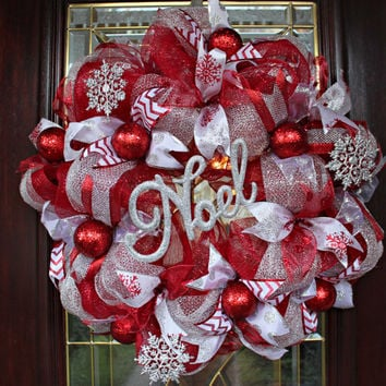 Deco Mesh Christmas Wreath, Red and Silver Deco Mesh Christmas Wreath