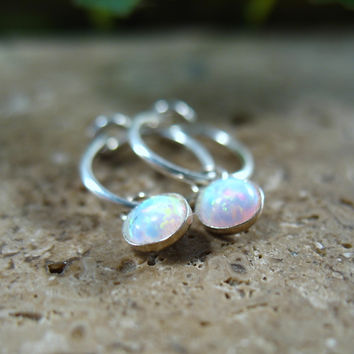 Hoop Earrings Silver MMS17 Opal Dangle