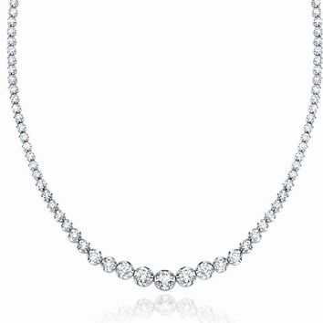 "JewelMore 5ct. 14K White Gold 17 ""Graduate Diamond Tennis Riviera Necklace(5.00 cttw, H-I Color, I1-I2 Clarity)"