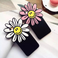 Three dimensional soft silica gel smiling face sun flower mobile phone case for iPhone 6 6s + Nice gift box!