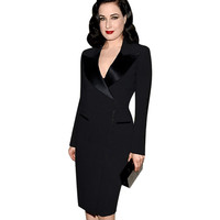 Fashion Women Elegant Lapel Satin Turn-down Collar Zipper Wear to Work Office Business Sheath Solid Pencil Dress Plus Size
