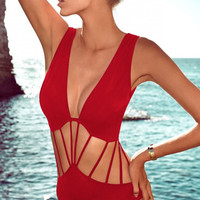 Red V- Neckline Strappy Cut- Out One Piece Swimwear