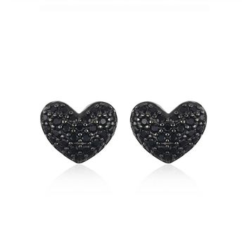 JewelryPalace Fashion 0.29ct Natural Black Spinel Love Heart Earrings For Women Solid 925 Sterling Silver Stud Earrings Jewelry