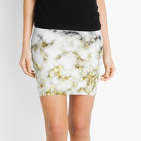 'Black and white marble gold sparkle flakes' Mini Skirt by PLdesign