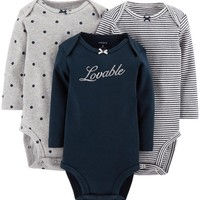 "Carter's Baby-Girl Carter's 3-pk. ""Lovable"" Bodysuits"