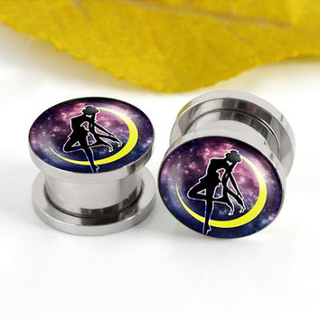 The Sailor Moon  ear plugs ,6mm-20mm ear plugs,Stainless steel ear plugs,Screw Kit Women Flesh Tunnel,Body Piercing,0g 00g plugs