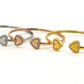 Heart Double heart, forever love, CNC drill bracelet, south Korean micro - drill hollow tube twisted bracelet.