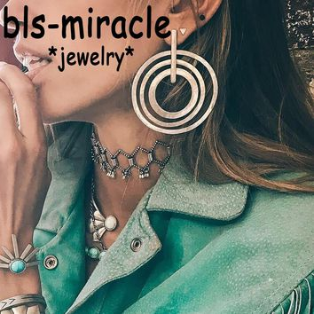 Bls-miracle Boho Swirl Geometric Earring for Women Earrings Fashion Steampunk Style Party Girl Gift Accessories Ethnic Jewelry