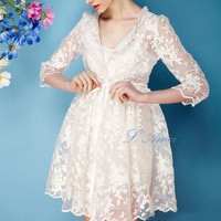 Exquisite1970's Paris Inspired White Vintage-Style Organza Embroidered Lace Wedding Jacket Bolero