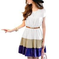Allegra K Women Colorblock Flutter Sleeve Casual Summer Short Dresses