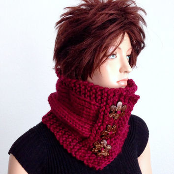 Knitted Chunky Style Cowl/Neck warmer in Napa Valley Pinot