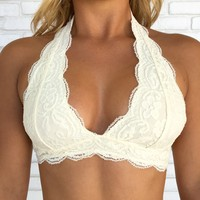 Halter Lace Bralette in Ivory