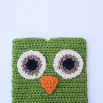 Crochet Owl eReader Cover, Crochet Owl eReader Case, Crochet Owl ipad mini cover, Owl eReader cover in Green