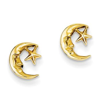 Mini Crescent Moon and Star Post Earrings in 14k Yellow Gold
