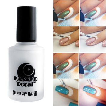 2016 New Mgic 15ml White Peel Off Liquid Nail Art Tape Latex Tape Palisade For Easy Clean Finger Skin Care Cream NA1130