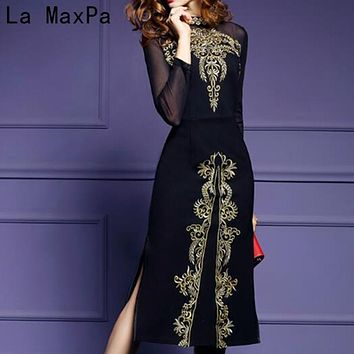 Women 2018 New Spring & Autumn Vintage Embroidery Dress Female Elegant Black Vestidos Retro Robe Femme Knitted Clothing Mesh