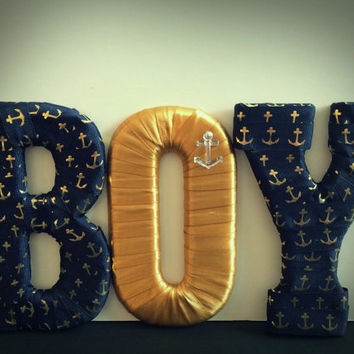 Nautical Baby Boy Nursery Letter Set by Tightly Wound Designs