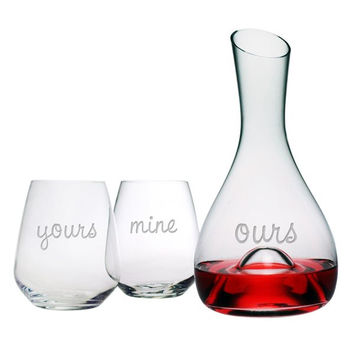 Yours Mine Ours Punted Carafe and Wine Glasses