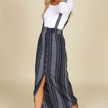 Striped Overall Maxi Skirt Navy/ Blue