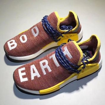 Adidas Human Race nmd Fashion Casual Embroider Letter Running Sports Shoes Brown