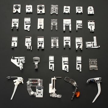32 PCS Domestic Sewing Machine Braiding Blind Stitch Darning Presser Foot Feet Kit Set With Box Snap On For Brother Singer Janom