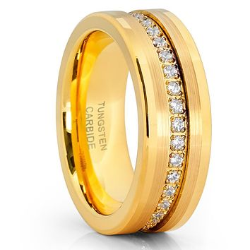Yellow Gold Tungsten Wedding Band - 8mm - Yellow Gold Ring - Tungsten Ring