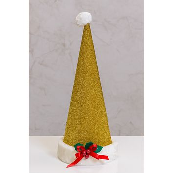 """9""""x26"""" Hat Cone Gold with White Ribbon Bow"""