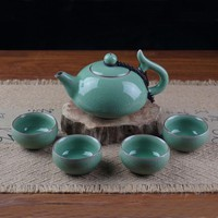 Chinese Porcelain Tea Set 1 Pot and 4 Cups Longquan Celadon kung Fu Tea Bowls Christmas Gifts