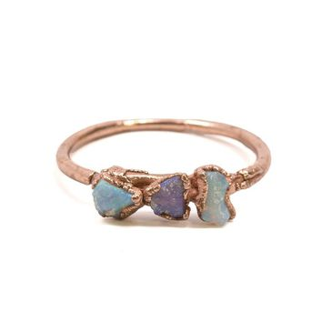 Raw Opal Tri Stone Stacking Ring