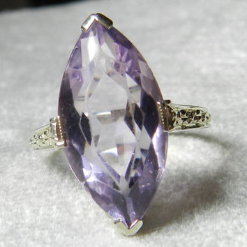 Art Deco Ring Antique Engagement Ring 18K Amethyst 5 Ct 1920s 5 Carat Rose De France Amethyst Engagement White Gold Filigree February
