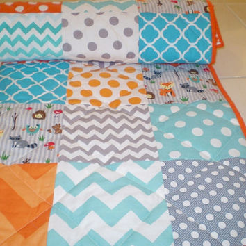 Modern baby quilt,Woodland toddler quilt,patchwork crib quilt,baby boy bedding,baby girl quilt,rustic,teal,aqua,grey,orange,fox,owl,chevron