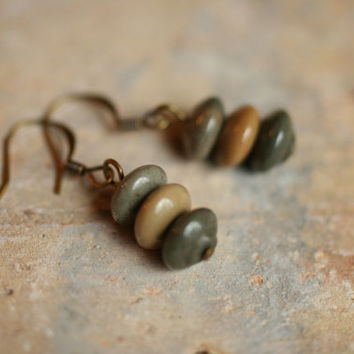 earthy jewelry / small earthy earrings / jasper earrings / everyday earrings / tan olive loden gray natural colors neutral
