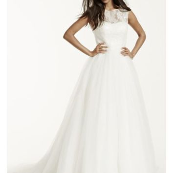 Cap Sleeve Tulle Wedding Dress with Illusion Neck - Davids Bridal
