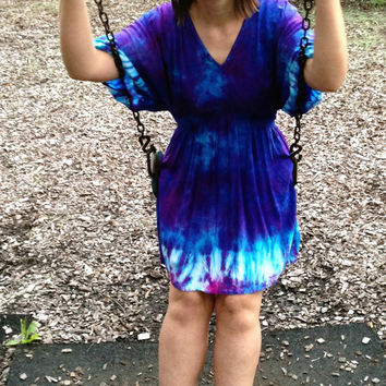 Plus Size Tie-Dye Dress, Tunic, Hippie Dress, Bohemian Dress, Bright Blue