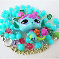 Kawaii Fairy Necklace, Upcycled Littlest Pet Shop Figure on Beaded Teal Chain, Silver Plated - LPS