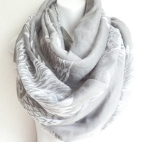 Bohemian Gray BIRD SCARF, Infinity scarfs, Loop scarf, Circle scarf, Scarves, Lightweight scarves, Spring scarves, Mothers day gift for her