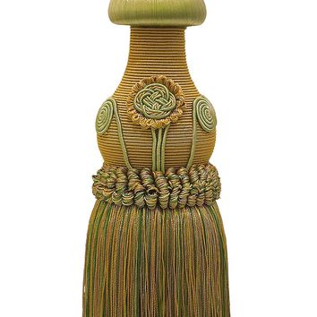 "Decorative Olive Gold Curtain & Drapery Tassel Tieback /12"" tassel, 32"" Spread (embrace), 7/16"" Cord, Baroque Collection Style# TBBL-1 Color: Golden Olive 1755"