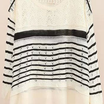 White Long Sleeve Striped Knit Sweater