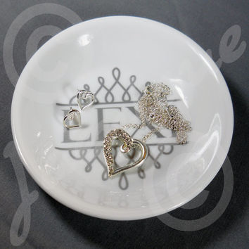 Personalized Monogram Ring Dish, Key Tray, Coin Dish, This & That Dish Custom Design 62 Vinyl Colors Perfect for both Men and Women