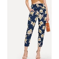 Multicolor High Waist Floral Print Tapered Carrot Crop Pant