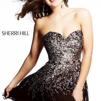 Flowy Sherri Hill Brown Short Dress 8413