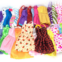 NK 10 Pcs Mix Sorts Beautiful Party Clothes Fashion Dress For Barbie Doll Best Gift Toys