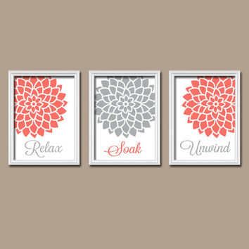 Coral Gray BATHROOM Wall Art Canvas Prints Artwork Relax Soak Unwind Flower Choose Colors Set of 3 BATHROOM DECOR