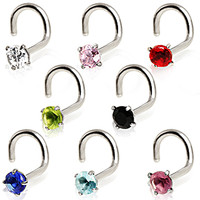 316L Surgical Steel Screw Nose Ring with Prong Set Glass/Gem